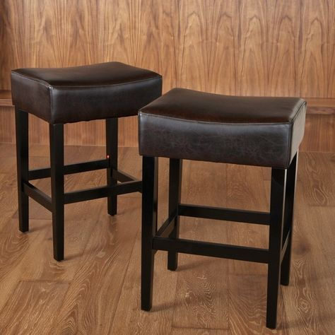 Lopez 27 Inch Backless Brown Leather Counterstools Set Of 2 By Christopher Knight Home Leather Counter Stools Counter Stools Leather Bar Stools