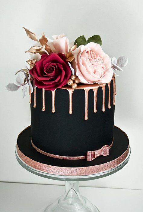 Wedding cake recipes 693061830142796505 - 30 Stylish Black Wedding Cakes ❤ black wedding cake small cake drip gold thewhimsicalcakery cake Source by Beautiful Birthday Cakes, Beautiful Cakes, Amazing Cakes, Elegant Birthday Cakes, Elegant Cakes, Food Cakes, Cupcake Cakes, Bolo Tumblr, Bolo Cake