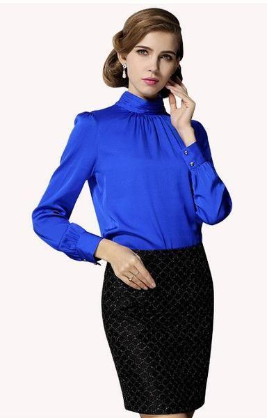 Real SILK Blouse -  Stand Collar Long Sleeve - ELEGANTe Webshop
