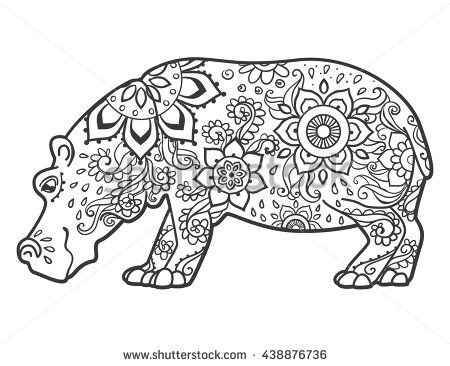 Stock Vector Ornament Hippo Vector Beautiful Illustration Hippopotamus For Design Print Clothing Stickers 438876736 Hippo Tattoo Hippo Drawing Fiona The Hippo