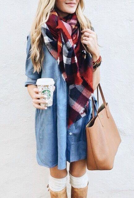 plaid scarf + chambray dress