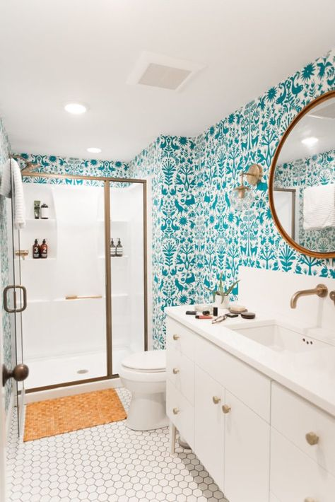 11 Amazing Before & After Bathroom Remodels - Wallpaper in the bathroom, yay or nay? Check out these amazing before and afters for a little weekend inspiration! Small Bathroom Renovations, Home Remodeling, Remodel Bathroom, Budget Bathroom, Bathroom Makeovers, Kitchen Remodel, Bathroom Wall Decor, Modern Bathroom, Shower Bathroom