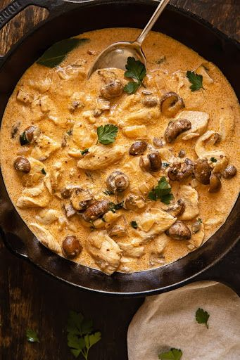 Creamy Chicken Stroganoff With Mushrooms Recipe Yummly Recipe Chicken Stroganoff Slow Cooker Chicken Stroganoff Stroganoff Slow Cooker