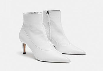 865b254fdf3 Γυναικεία μποτάκια (16) Άσπρο μυτερό δερμάτινο ankle boots ZARA με χαμηλό  τακούνι
