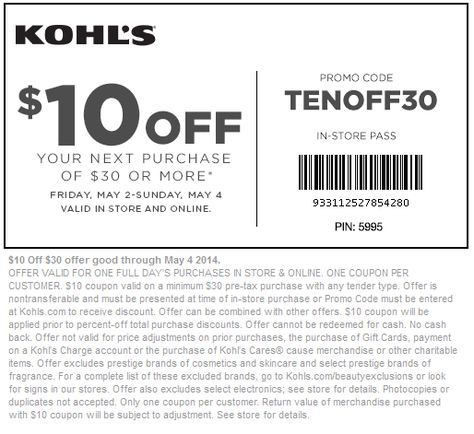 Pinned May 2nd $10 off $30 at #Kohls, or online via promo code - coupon disclaimer examples