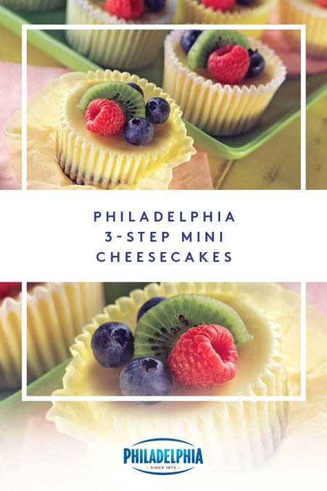 These PHILADELPHIA Mini Cheesecakes are so simple and delicious, you'll think you missed a step. They're made with creamy PHILADELPHIA Cream Cheese, and topped with your favorite fruit like raspberries, blueberries, and kiwi. Köstliche Desserts, Delicious Desserts, Dessert Recipes, Yummy Food, Tasty, Health Desserts, Food Cakes, Cupcake Cakes, Yummy Treats