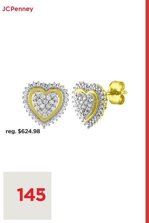 Diamond Clarity: I3Earring Back: FrictionSetting: ProngShape: HeartStone: DiamondStone Cut: RoundDiamond Color: I-JMetal Color: YellowEarring Length: 11mmEarring Width: 11mmRounded Carat Weight: 1/3 Ct. T.w.Metal: 10k GoldCare: Polishing ClothStone Type: 98 Genuine DiamondAuthenticity: Genuine StoneBirthstone: April BirthstoneCountry of Origin: Imported