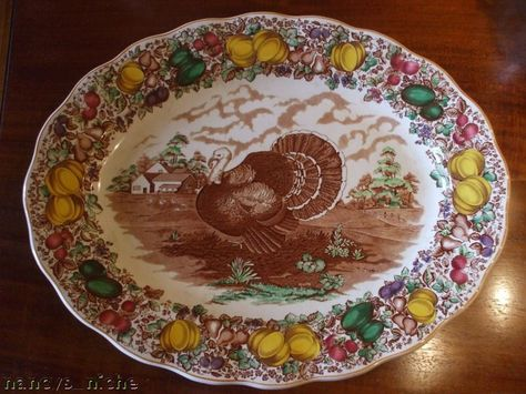 Barker Brothers 20 Inch Turkey Platter Brown Transferware Thanksgiving