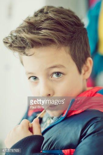 8 Years Old Boys New Haircut Stock