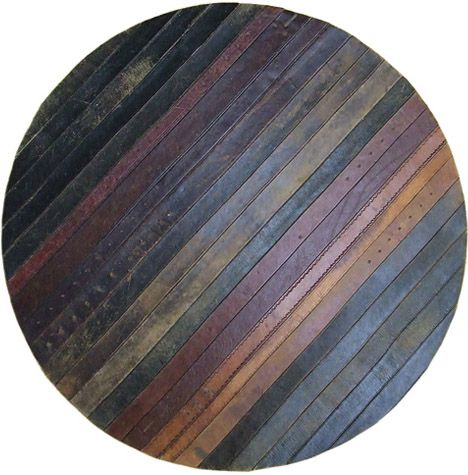 Leather rug ~ oh wow! I'm on the search for old leather belts!