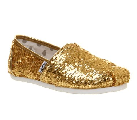 1fa0f8fb013 Toms Seasonal Classic Slip On Gold Sequin Exclusive - Flats