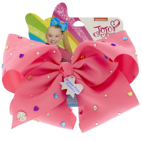 Give your look a POP of color with this vibrant pink hair bow by JoJo Siwa. The large bow is decorated in multi-colored round and heart rhinestones.
