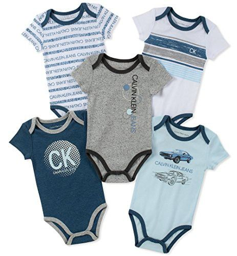 Calvin Klein Jeans Baby Boys 5 Pieces Pack Bodysuits Calvin Klein Baby Baby Boy Clothes Newborn Baby Boy Outfits