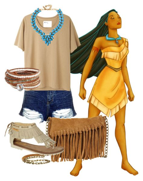 """""""Disneybound: Pocahontas"""" by andtodaystheday ❤ liked on Polyvore featuring Topshop, MHL by Margaret Howell, Oscar de la Renta, Chan Luu and dELiA*s"""