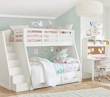 Belden Twin Over Full Stair Loft Bed Pbkids Bed For Girls Room Bunk Bed Designs Girls Bunk Beds