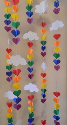Baby SPRINKLE Decor / SPRINKLE Party / Clouds and Raindrop Rainbow Garland / Baby Shower Decorations / DIY Nursery Mobile - These vertical garlands are SUPER cute for decoration ! Perfect for your sprinkling baby showers - Summer Crafts, Fun Crafts, Crafts For Kids, Arts And Crafts, Baby Crafts, Kids Diy, Simple Paper Crafts, Straw Crafts, Diy Straw