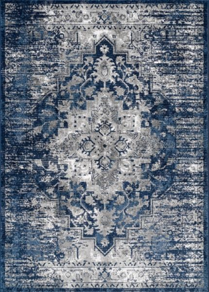 Blue Emma Vintage Area Rug 8x10 With Images Blue Gray Area