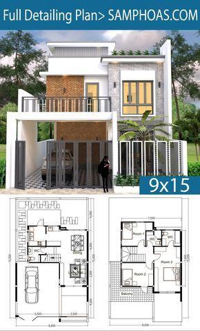3 Bedroom House Plan Plot Size 9x15 Samphoas Plansearch Architectural House Plans House Renovation Design House Plans
