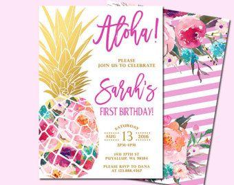 Pineapple Birthday Invitation Tropical Birthday Aloha Birthday