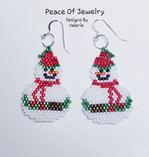 Handwoven Snowman Beaded Earrings. So cute for the Christmas Season. All handwoven with Miyuki Delicas Seed Beads. Sterling Silver French Wires!