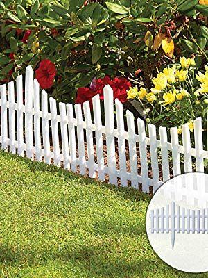Interlocking Flexible White Picket Fence Garden Borders Pack Of