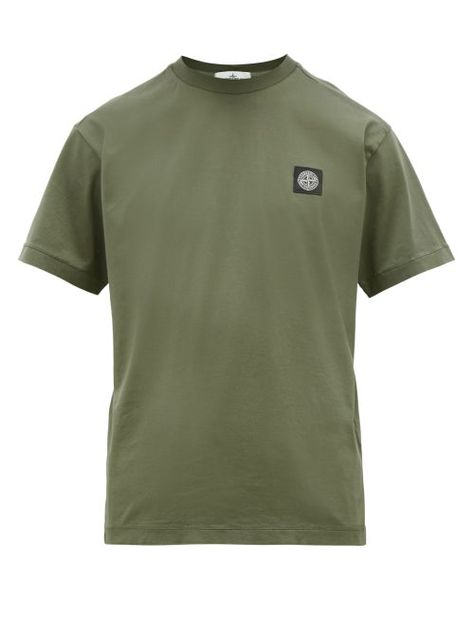 Stone Island Stone Island Logo Patch Cotton Jersey T Shirt Mens Dark Green Stoneisland Cloth Patch Logo Mens Shirts Stone Island