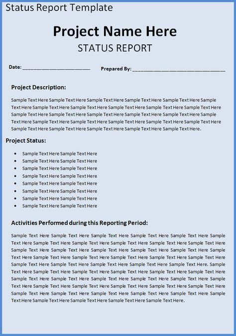 A project status report template is a document that represents the - project report template word