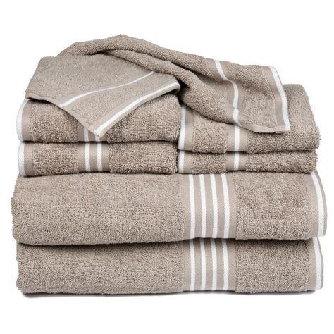 Lavish Home 8 Piece Egyptian Cotton Towel Set White and Taupe