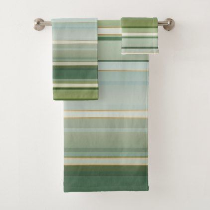 Elegant Pine Green Pale Turquoise Striped Bath Towel Set Zazzle