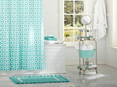 Kombinieren Badezimmer Blau Weiss Vorhang Matte Badaccessoires