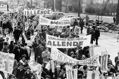 Demonstrators Marching to Support of Socialist Salvador Allende in 1964 Photo