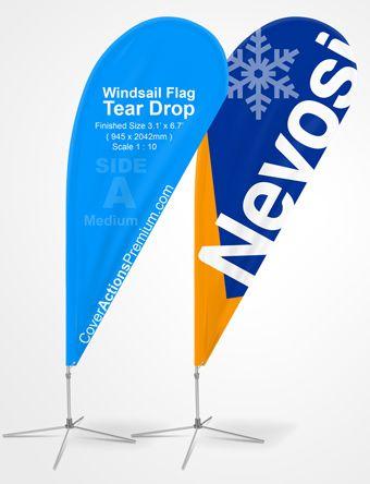 Tear Drop Flag Mockup Banner Poster Mockup Mockup Photoshop