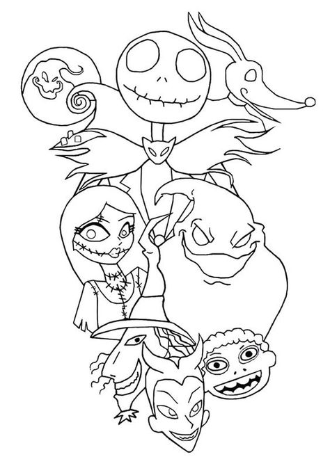 The Nightmare before Christmas Coloring Pages Luxury Nightmare before Christmas Coloring Sheets Concept Jack and Sally. Free Halloween Coloring Pages, Free Christmas Coloring Pages, Christmas Coloring Sheets, Disney Coloring Pages, Coloring Pages To Print, Coloring Book Pages, Printable Coloring Pages, Coloring Pages For Kids, Adult Coloring