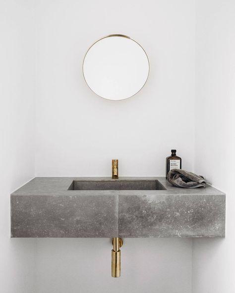 Minimalistischer Einrichtungsstil Bad Wc Mit Waschtisch Aus Beton