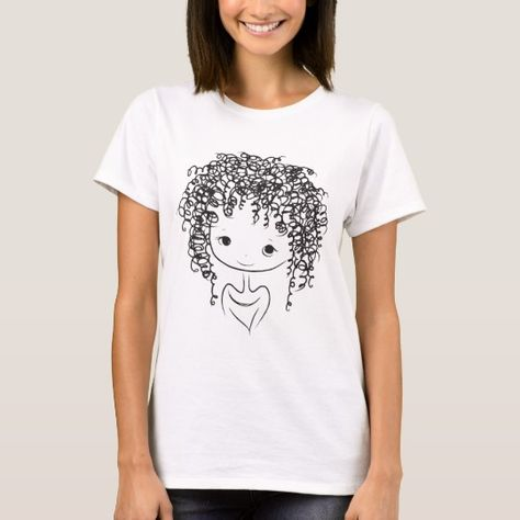 Funny And Cute Curly Hair Girl Kid T Shirt Zazzle Com