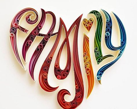 Handmade Quilled Paper Heart With Treble Clef Art Paper Quilling