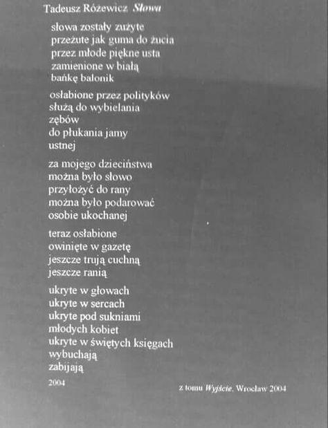 Różewicz Poezja Wiersze I Inspirujące Słowa