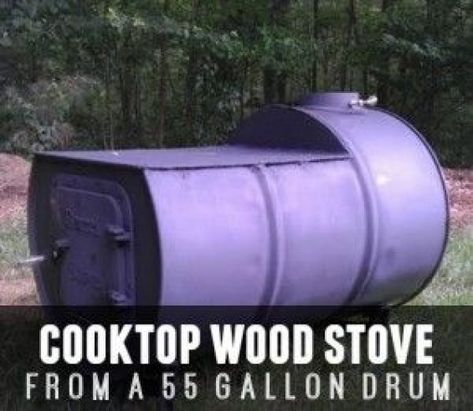55 Gallon Drum Transformed Into A Cooktop Wood Stove #outdoorwood