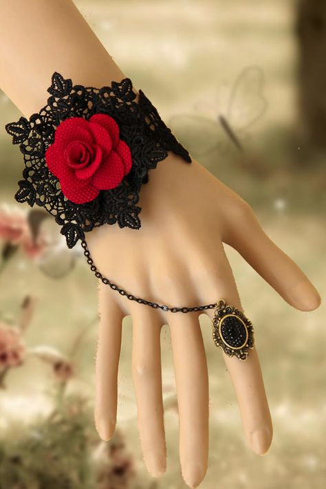 Victorian Gothic Vintage Rose Lace Ring Bracelet Wristband Set - you could crochet this yourself - so pretty!