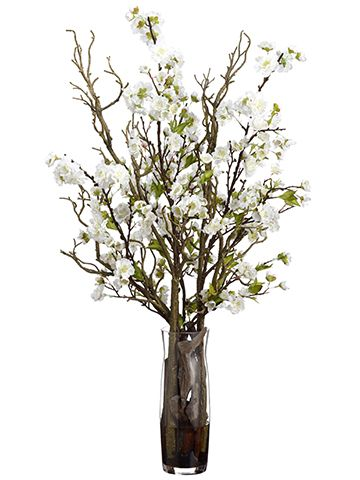 34 H Faux White Cherry Blossom Designer Arrangement Faux Trees N Shrubs Artifical Flowers Home Floral Arrangements Vases Decor