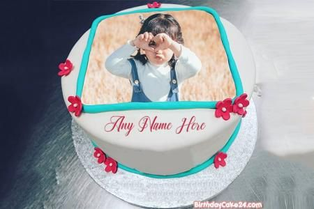 Astounding Lovely Flower Birthday Cake With Name And Photo Edit Birthday Funny Birthday Cards Online Sheoxdamsfinfo