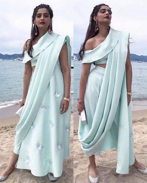 Indo Fusion saree, Sonam at Cannes 2017 saree