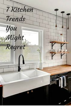 Kitchen trends you might regret: farmhouse sinks );, microwave over the stove, distressed cabinets, brass hardware...always think resale value: from Bob Vila