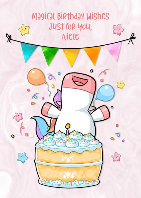 For Niece Happy Unicorn With Birthday Cake Card Ad Affiliate