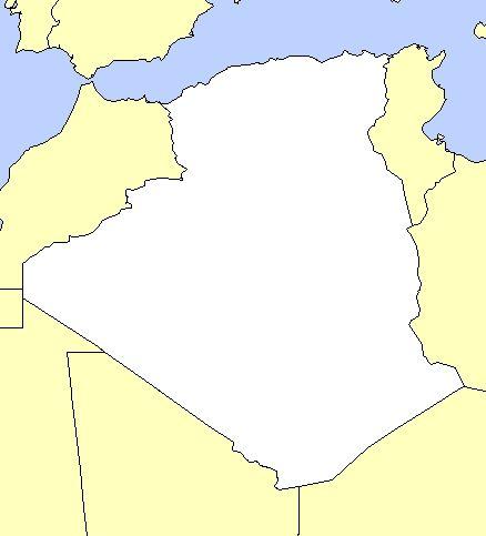 خريطة الجزائر صماء بحجم كبير وحدودها رسم واضح