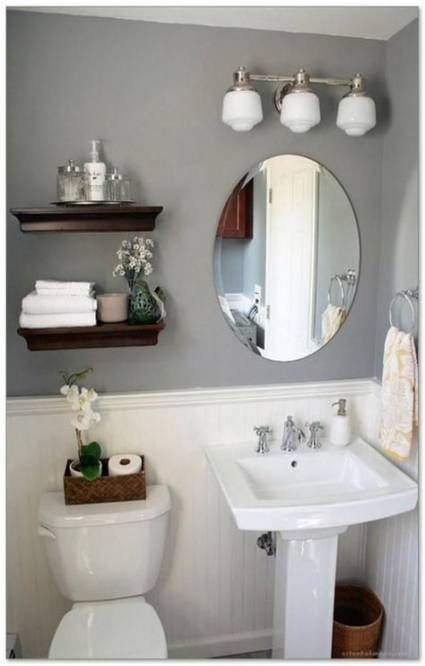 49 Ideas Bathroom Storage Ideas For Small Spaces Half Baths For 2019 Small Bathroom Remodel Designs Half Bathroom Decor Powder Room Renovation