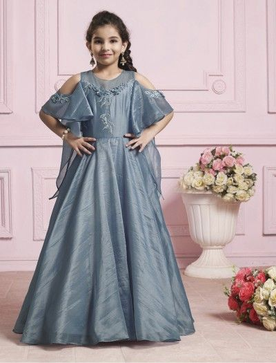Grey Color Silk Gown For Girls Gowns For Girls Little Girl