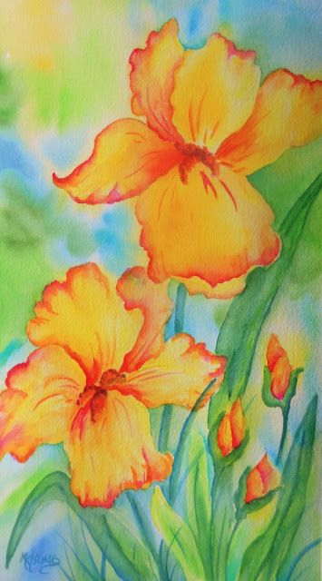 Sunshine Iris Long Skinny Watercolor Flowers Paintings