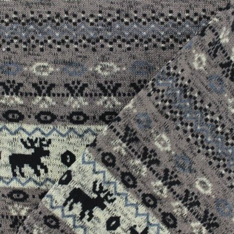 Tissu pull de noel jacquard taupe x 10cm | Les nouveautés
