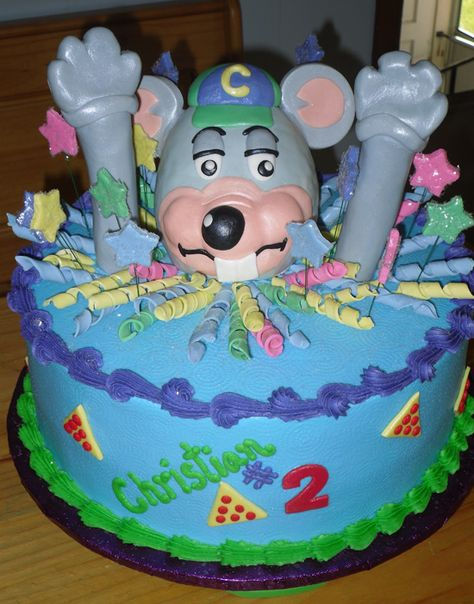 Chuck E Cheese themed birthday cake Chuck E Cheeses Bday Party